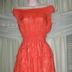 Orange Off-Shoulder Elastic Waist Dress
